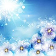 Shiny Background with Fantasy Flowers and Sun Glares