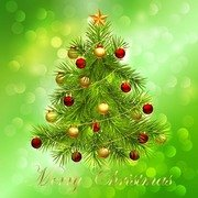 Christmas Tree on Bokeh Background
