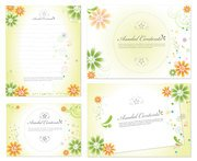 Lovely flowers decorated stationery and cardboard vector mat
