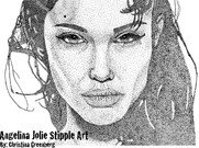 Angelina Jolie Stipple Art