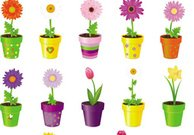 Colorful vase flower vector set