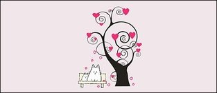 Heart-shaped cartoon trees vector elements