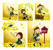 Yellow leaf theme (South Korea iClickart Four Seasons cute g