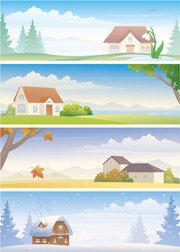 Four Seasons Landscape Vector Material Four Seasons Landscape