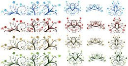 Free Vector - Curly Leaf Ornaments