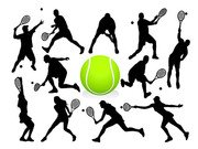 Silhouette de tennis action figures