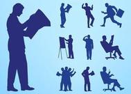 Reading And Working People Silhouettes