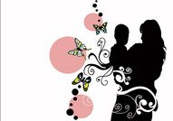 Mother and child silhouette, butterflies, flowers, vector ma