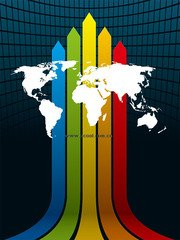 Space Background Rainbow line map of the world vector materi