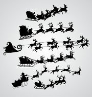 Vector Santa Claus Flying Over The Air