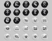 25 Economy Icons Set with Shiny Style
