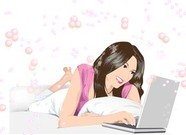 Beautiful girl lay and chat with her laptop