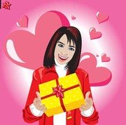 Girl in love with gift