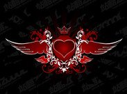 Heart-shaped vector material the tide of the wings