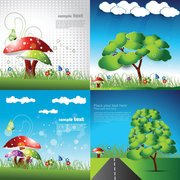 Cute Cartoon Children - Vector Fine Children Comics Mushrooms
