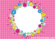 Pink Dot Background With Flowers