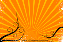 Sunburst Background Vector with Floral