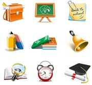Schule Thema 3D Icon Set