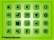 Green Square flache Icon Pack