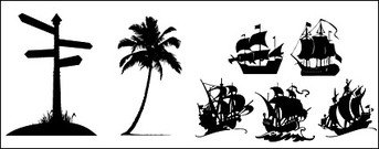 Road signs, the coconut trees, sailing silhouette icon mater