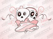 The trend of couples cute skull and crossbones Vector materi