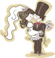 Hand-painted version of the bride and groom 03