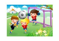 Children playing football motion