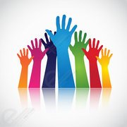 Colorful Hands Raised Up. Free