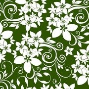 Abstract Floral Ornament on Green Background