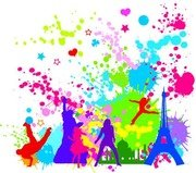 Free Colorful InkBlot of City Silhouette