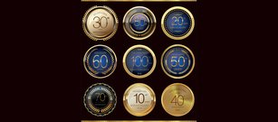 9 Shiny Gold Metal Anniversary Badges