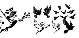 Black-and-white doves or silhouette
