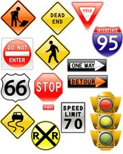 road signs & traffic light