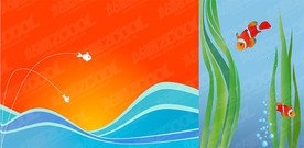2, the background vector illustration of fish material