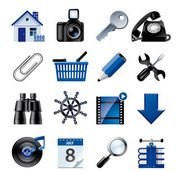 Blue website and internet icons
