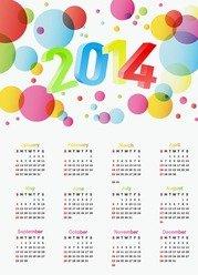 2014 Year Calendar Colorful Design