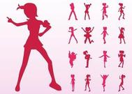 Jumping And Dancing Girls Silhouettes