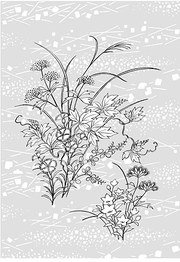 Japanese line drawing of plant flowers vector material -2 (A