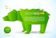 Green Origami Animals 01