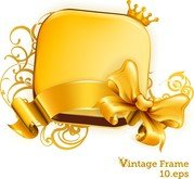 Gold Crown Ribbon Bow