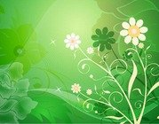 Vector Abstract Flower with Green Background