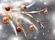 Decorated Fir Branch Christmas Background (Free)