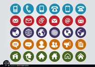 Round web contact icons set