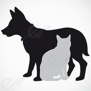 Hond en kat silhouet. Gratis vector download