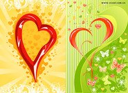 2, three-dimensional heart-shaped butterfly pattern vector m