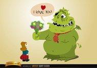 Monster love with flowers for girl