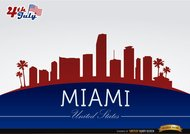 Miami skyline on July 4th commemoration