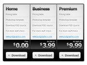 Black and white pricing table PSD template