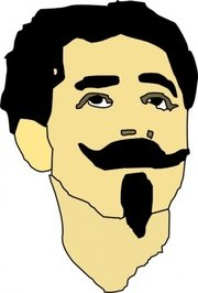 man with mustache and goatee, vector - clipart
