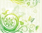 Green Floral and Butterflies